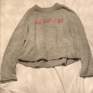 """Gray cropped sweater with words """"dreamer"""""""